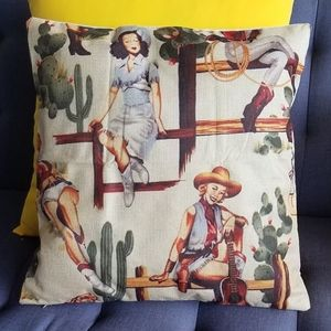 Vintage Style Pin Up Girl Pillow Cover